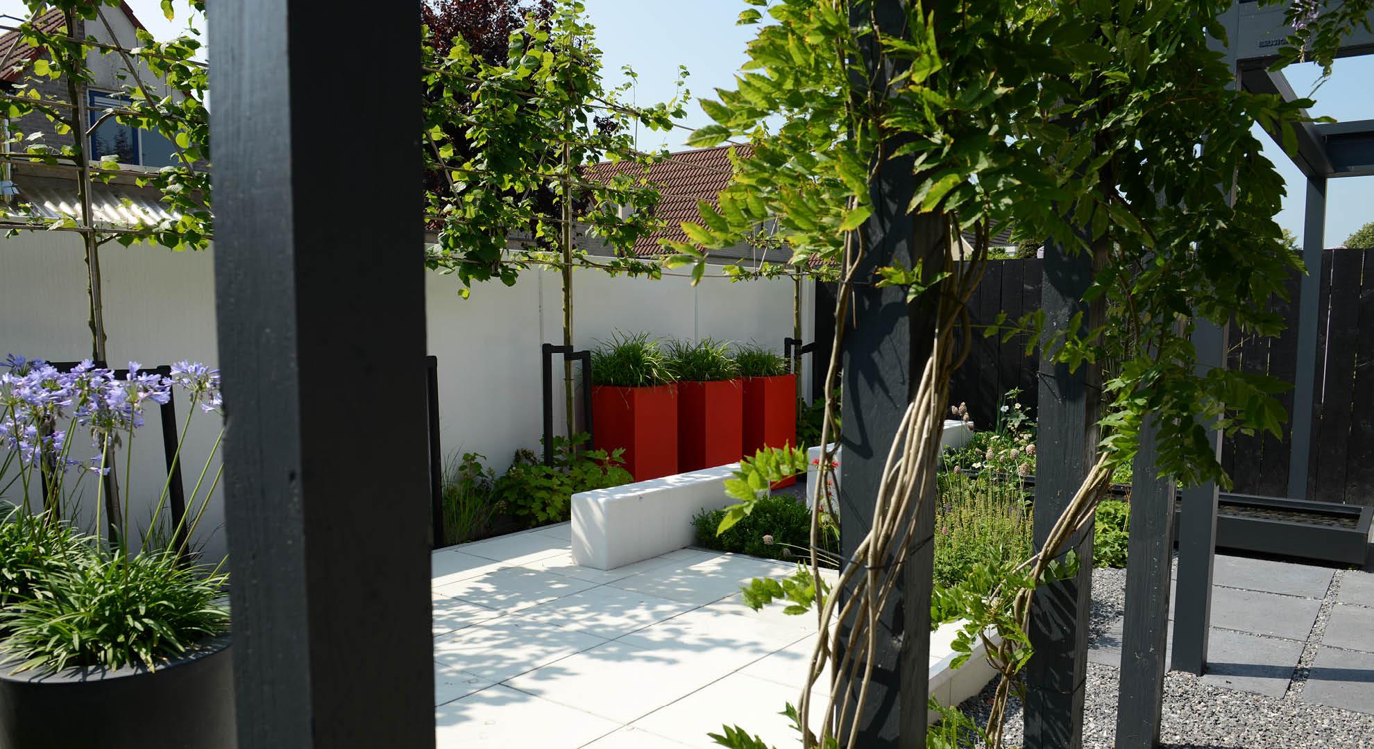 moderne kleine tuin met pergola constructie met tuinmuurtjes, platoflex wanden, spiegelvijver aangelegd door de hoveniers van Rodenburg tuinen